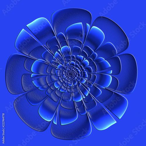 Fototapeta Beautiful blue flower with embossed effect in fractal design. Artwork for creative design, art and entertainment.