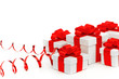 Gifts in white boxes with red ribbons