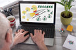 Business success concept on a laptop screen