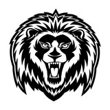 Sign of a black lion on a white background. - 222974375
