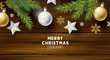 Festive christmas background design with xmas decorations on a vintage wooden background. Vector illustration. - 222976793