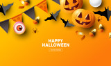 Halloween holiday party Composition with Jack O' Lantern pumpkins, party decorations and sweets on a orange background. Top view vector illustration.