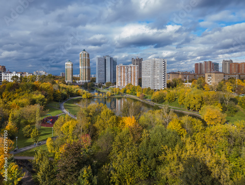 Leinwanddruck Bild Houses in Moscow Russia - aerial view