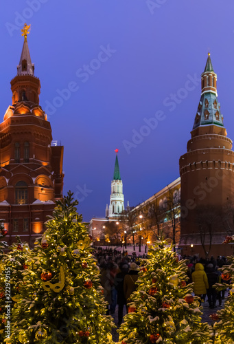 Leinwanddruck Bild Christmas tree on Red square in Moscow Russia