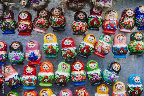Colorful Russian nesting dolls at the market. © Augustas Cetkauskas