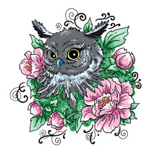 Owl And Flowers Element Of Design Prints For Textiles  Illustration     Sticker