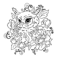 Owl  Flowers Contour Illustration     Element Of Design Prints For Textiles Sticker