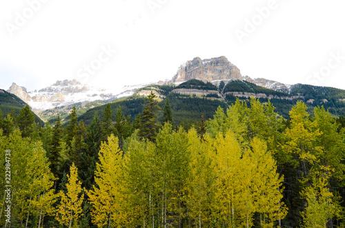 秋のカナディアンロッキーの山並み ーアイスフィールド・パークウェイにて(カナダ・アルバータ州)