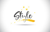 Style  Word Vector Text with Golden Stars Trail and Handwritten Curved Font. - 222991115