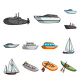 Water and sea transport cartoon icons in set collection for design. A variety of boats and ships vector symbol stock web illustration. - 222993193
