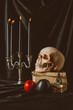 halloween decorations and skull on ancient books on black cloth