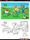 animal characters playing soccer coloring book - 222997517
