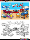 transportation vehicles characters coloring book - 222997543