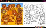 lions animal characters group coloring book - 222997575