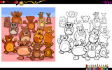 teddy bears characters group coloring book - 222997589