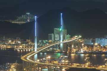 Cargo port and bridge in Hong Kong city