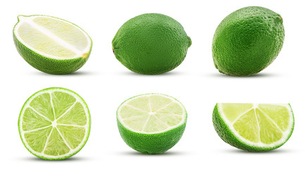 Collection fresh lime, whole, cut in half, slice