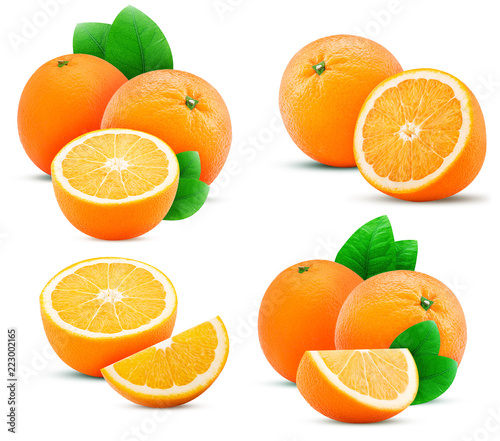 Collections orange fruit, whole, slice, cut in half with leaf - 223002165