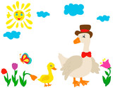 vector, isolated goose character on nature - 223006181