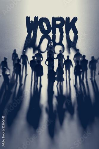 Leinwanddruck Bild WORK writing and group of people