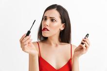 Woman Posing  Holding Lip  Doing Makeup Sticker