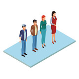 Isometric people isolated