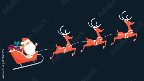 Santa Claus flying in sleigh with gifts