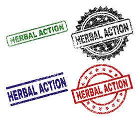 HERBAL ACTION seal prints with damaged texture. Black, green,red,blue vector rubber prints of HERBAL ACTION tag with corroded texture. Rubber seals with round, rectangle, rosette shapes.