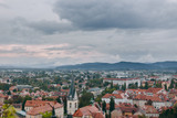 Beautiful view of the historic center of the European city in cloudy weather