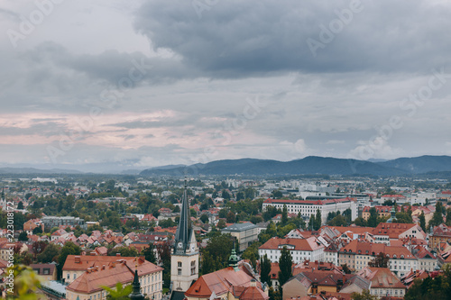 Beautiful view of the historic center of the European city in cloudy weather - 223018172