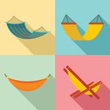 Hammock icon set. Flat set of hammock vector icons for web design - 223022367
