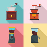 Coffee grinder icon set. Flat set of coffee grinder vector icons for web design - 223022900
