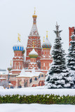 Saint Basil's Cathedral on Red Square in winter. Moscow. Russia - 223022989