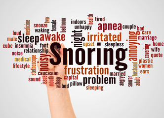 Snoring word cloud and hand with marker  concept