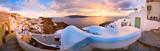 Beautiful sunrise panorama of Oia town on Santorini island