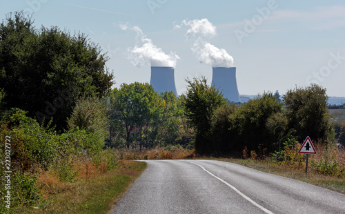 road to Nuclear power plant in the Loire valley