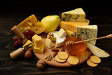 slices of cheese brie or camembert with croissants - 223030733