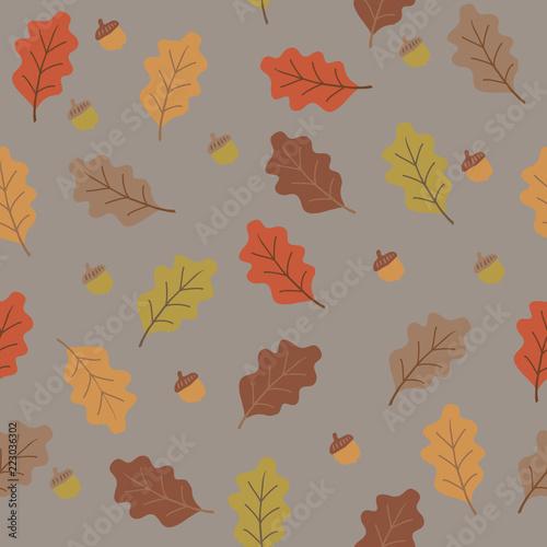 pomarańczowe żółte, brązowe i beżowe liście i liście dębowe, seaml