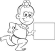 Black and white illustration of a baby girl running while holding a sign. - 223036524