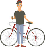 Young hipster guy holding his trendy bike