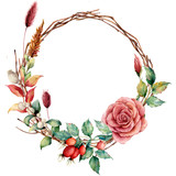 Watercolor wreath with dogrose and flower. Hand painted tree border with dahlia, tree branch and leaves, lagurus isolated on white background. Illustration for design, fabric or background. - 223043544