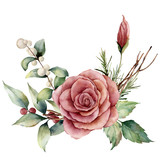 Watercolor bouquet with rose and snowberries. Hand painted floral illustration with pink flower, leaves, lagurus grass and branches isolated on white background. For design, print or background. - 223043717