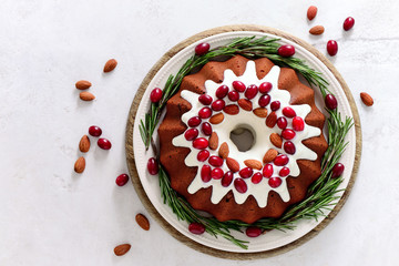Christmas pound cake with cranberries