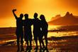 Quadro Group of tourists taking selfie at beach at Rio de Janeiro