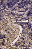 Mountain winding road, color toned picture, Mallorca, Spain.
