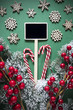 Vertical Black Sign With Christmas Decoration, Retro Look