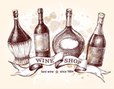 Set of hand drawn different types of wine bottles with vintage ribbon. Ink hand drawn Vector illustration. design element for a wine shop. - 223047399
