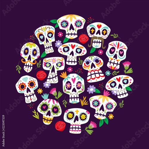 colorful mexican skulls background cute dia de muertos card