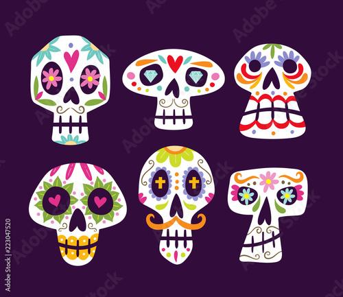 colorful mexican skull collection cute cartoon sugar skulls
