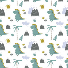 seamless vector background of merry dinosaurs in the nature